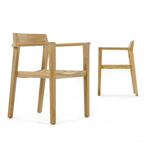 contoured teak wooden armchair