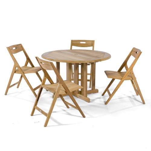 solid teak low level round folding picnic garden table set