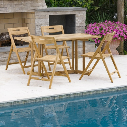 solid teak wood folding table set