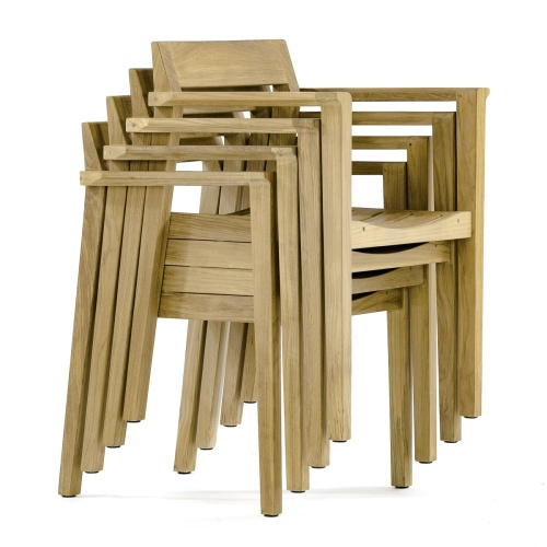 teak dining chairs stackable