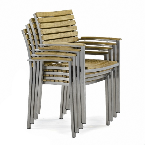 stacking teak stainless steel patio chairs