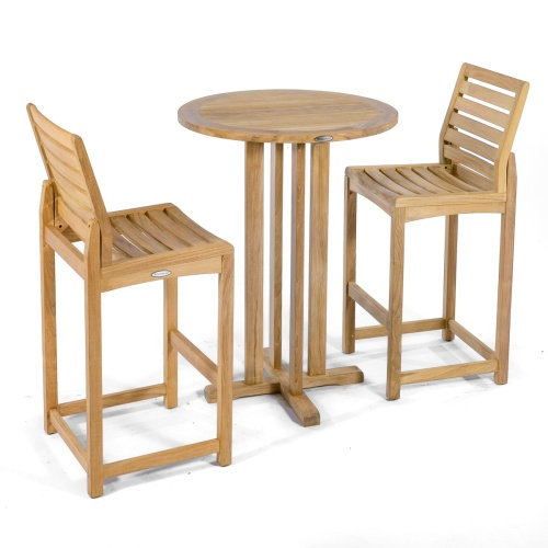 teak high bar table and 2 chairs