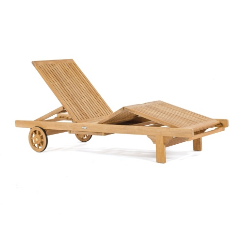 classic teak wooden chaise lounger