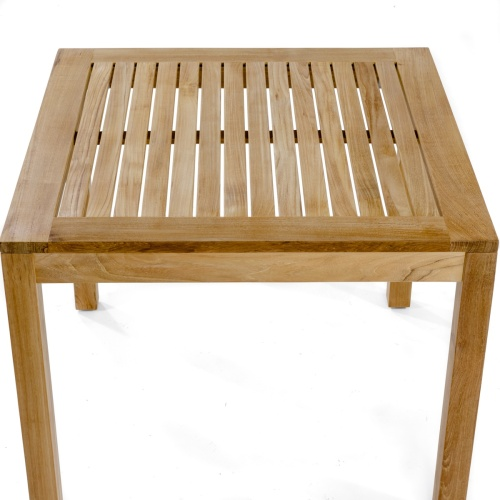 square slatted teak table