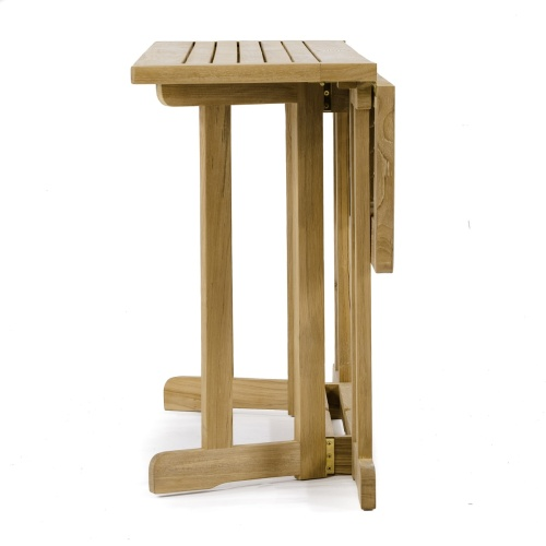 small rectangular outdoor wooden table