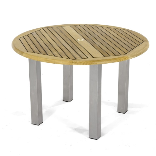 round teak reclaimed dining table with stainless steel legs