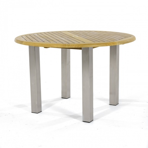 Stainless Steel and Teak Wood 4 ft. Round Table