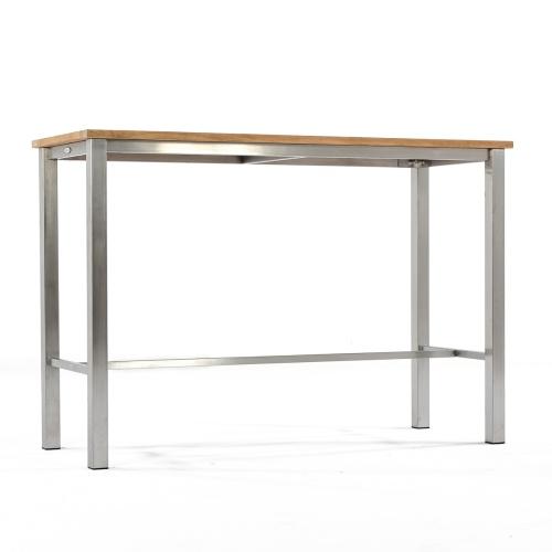 teak and metal patio bar table