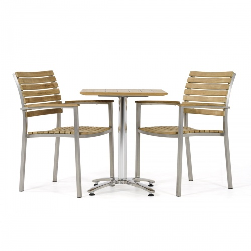 stainless steel teak cafe table set