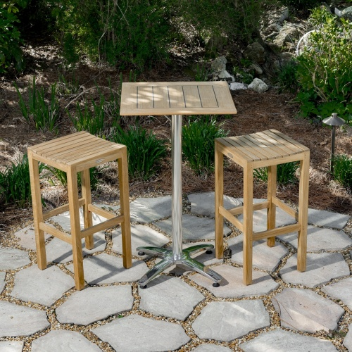 teak 3 pc patio bar set outdoor