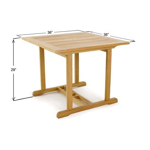 luxury square teak table
