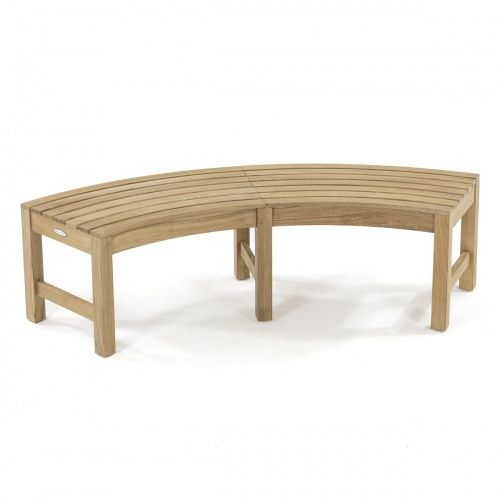 curved teak outdoor backless bench