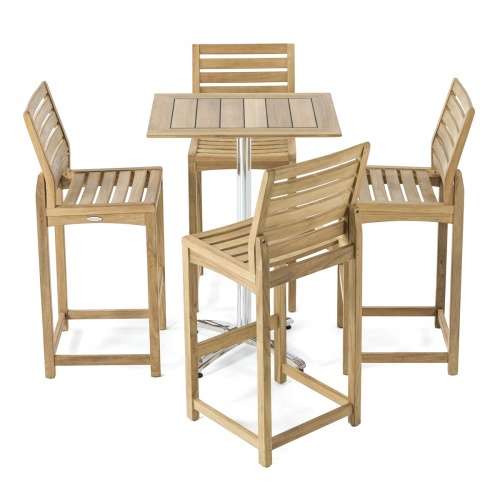 outdoor teak 5 piece bar set