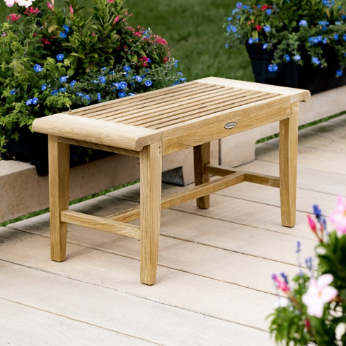 outdoor wooden shower bench