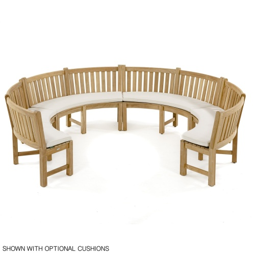 Outdoor Wood Curved Back Bench
