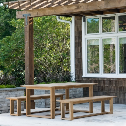 teak backless benches outdoor