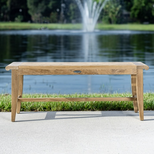 teak backless benches dining