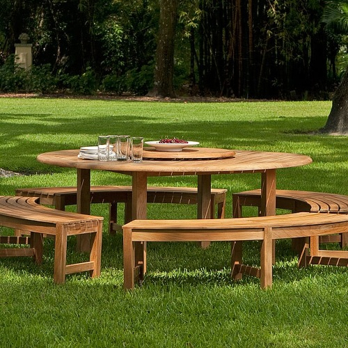 Curved Teak Benches Set