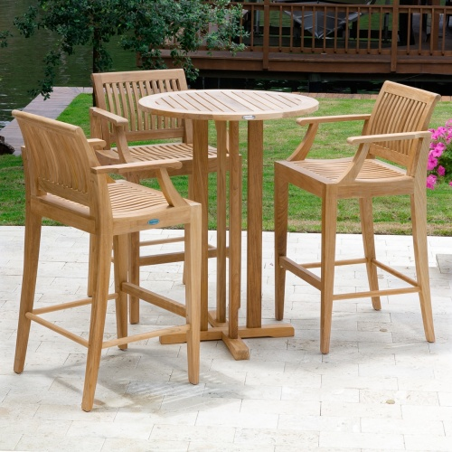 round bar table and stools
