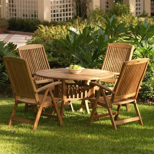 Outdoor Reclining Teak Set