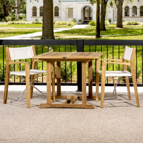 square teakwood table and chair conversational patio set
