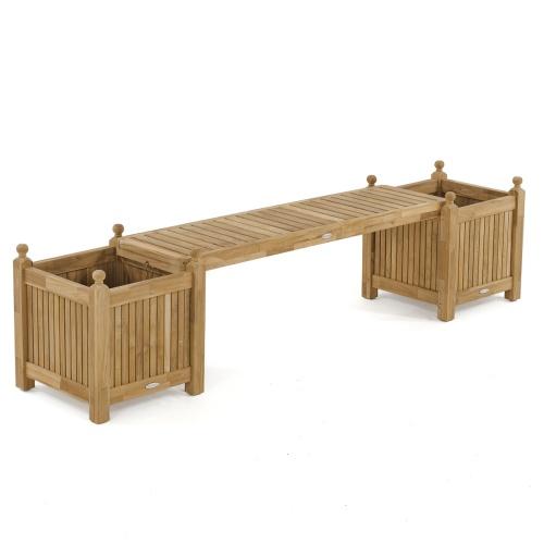 teak planter bench