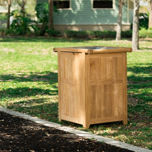 Teak Outdoor Trash Bins