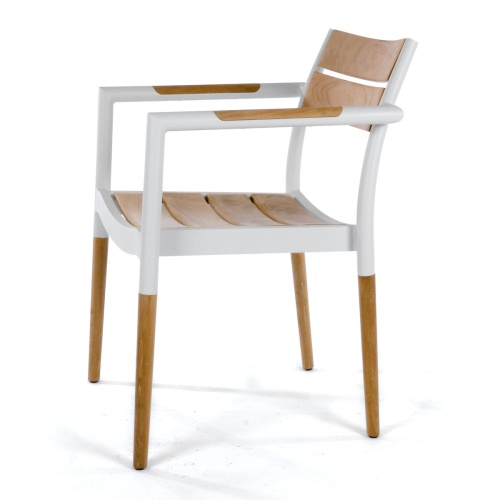 outdoor white teak and aluminum dining chair