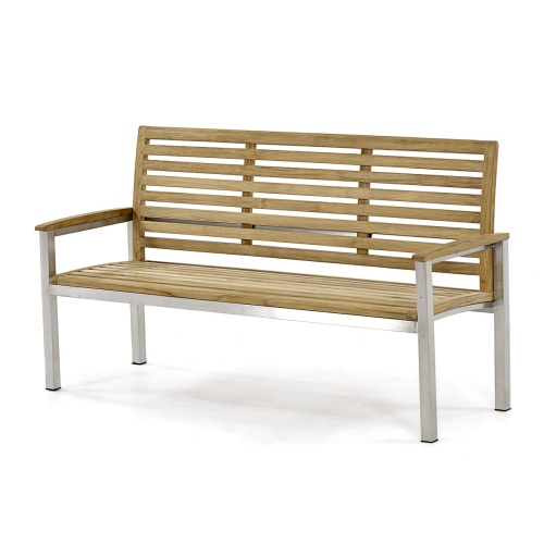 teak stainless steel outdoor commercial Bench