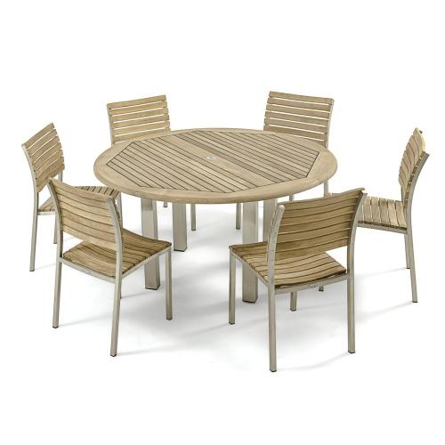 marine teak stainless steel round set for 6