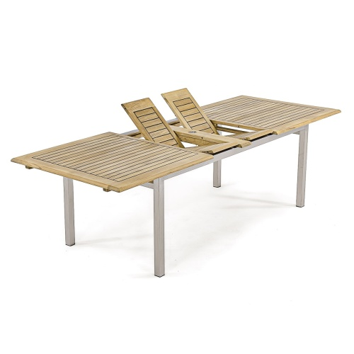 teak abd stainless outdoor rectangular table