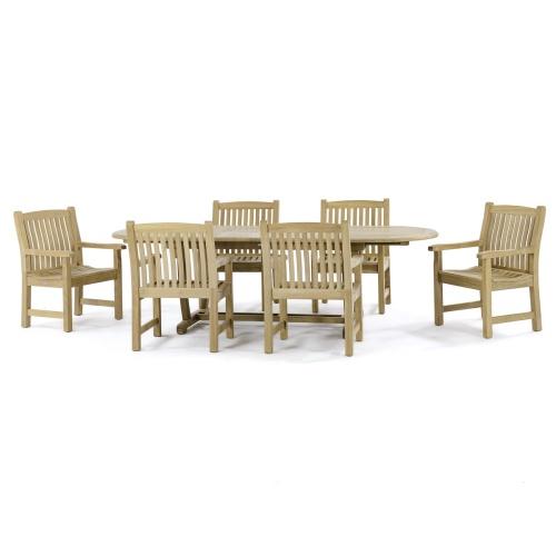 solid teak modern dining set