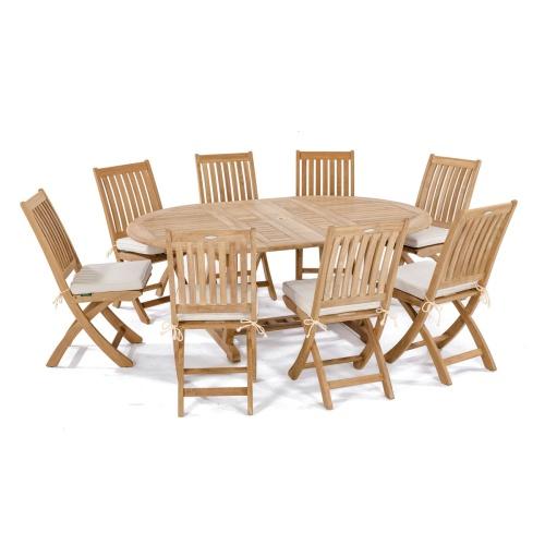 teak outdoor furniture oval table set