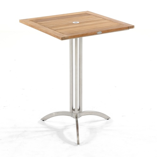 vogue teak and stainless high bar table