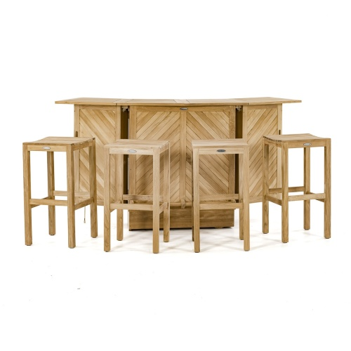 5 Piece Teak Bar Backless Set