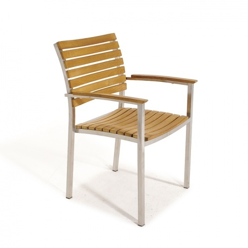patio teak and stainless steel dining chair