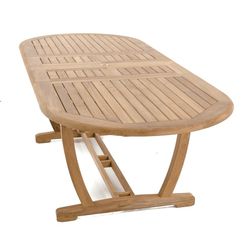 teak umbrella extendable table