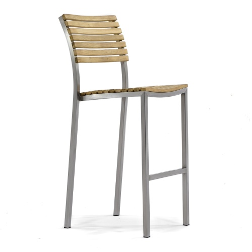 modern teak and stainless steel stacking bar chair stools