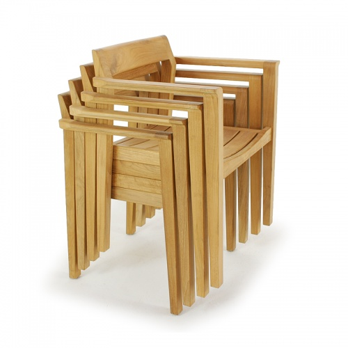 low back stacking teak wood chairs