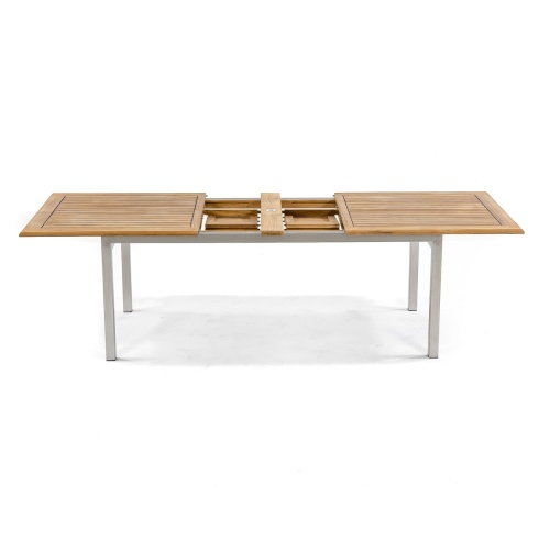teak and stanless steel with sikaflex table outdoors