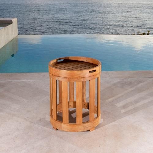 round teak side stool