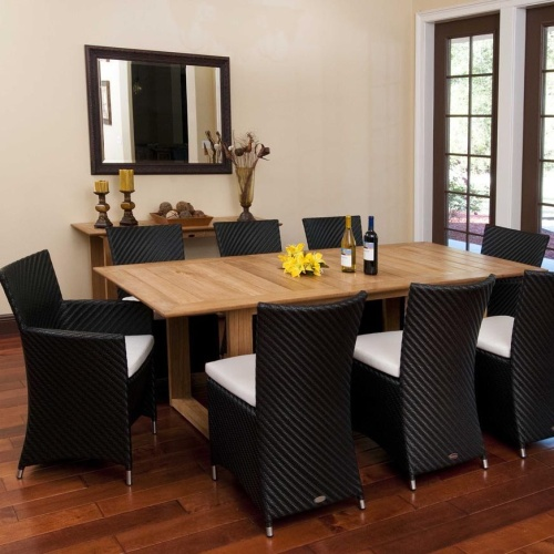 teak and wicker dining set