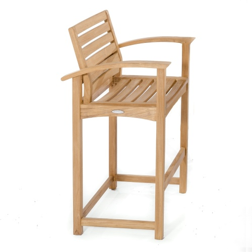 tall teak bar stool with arms