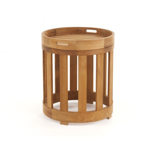 outdoor teak side table with tray