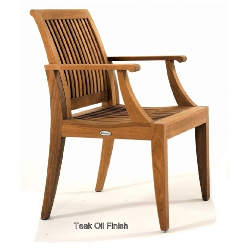 Teak outdoor patio chairs with arms