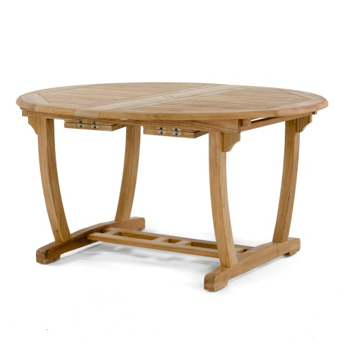 oval extendable table teak