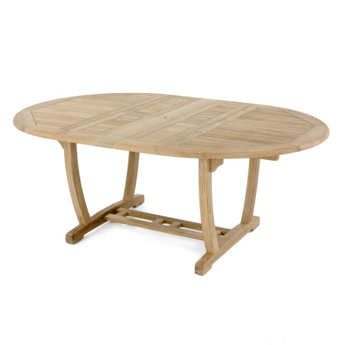 oval wooden extension dining table