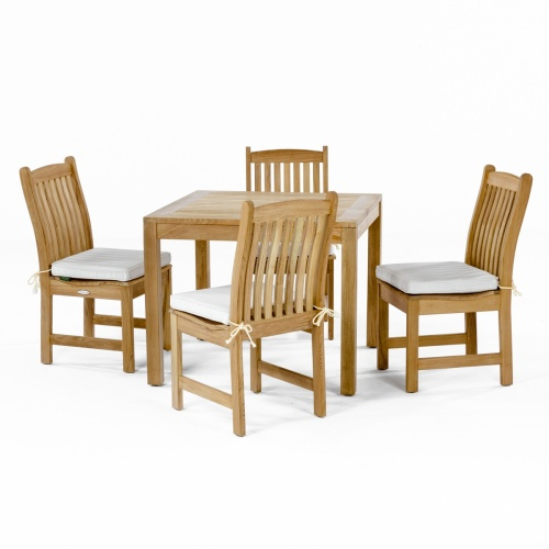 solid teak 5 piece round bistro sets