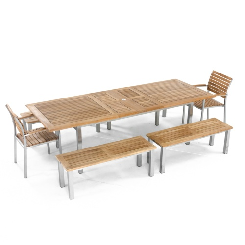wooden picnic table with benches and chairs