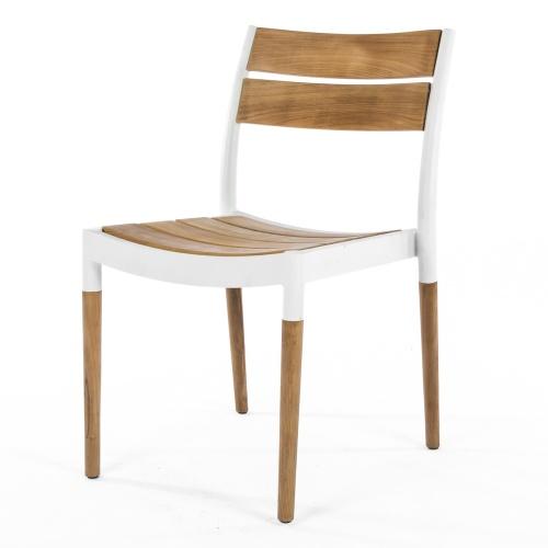 contoured outdoor yeak aluminum side chair